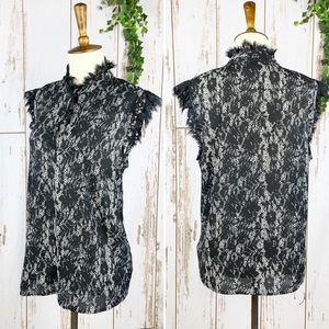 Who What Wear Black Lace Keyhole High Neck Blouse